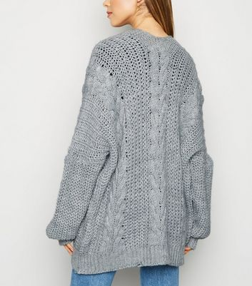 Cameo Rose Grey Cable Knit Cardigan | New Look