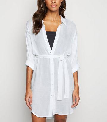 White Belted Beach Shirt Dress