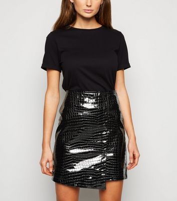 Urban Bliss Black Patent Faux Croc Mini Skirt New Look