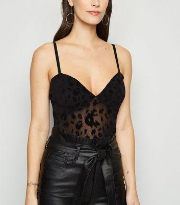Urban Bliss Black Leopard Devoré Bodysuit New Look
