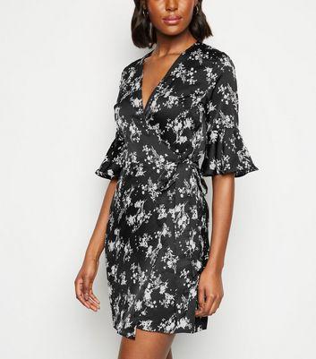 Urban Bliss Black Floral Satin Wrap Dress New Look