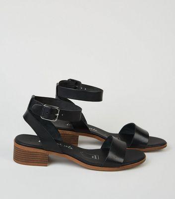 Black Leather Low Block Heel Sandals