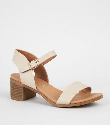 Cream 2 Part Block Heel Sandals