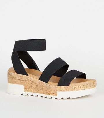 Black Elastic Strap Cork Flatform Sandals