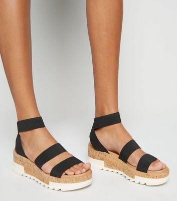 Black Elastic Ankle Strap Cork Flatform