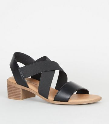 Wide Fit Black Elastic Strappy Low Heel Sandals
