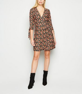 Apricot Black Floral Tie Sleeve Skater Dress New Look