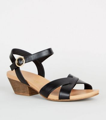 Wide Fit Black Leather-Look Cross Strap