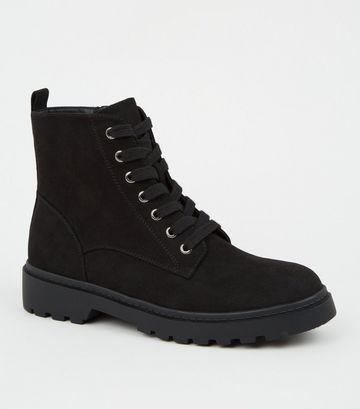 Black Suedette Chunky Hiker Boots
