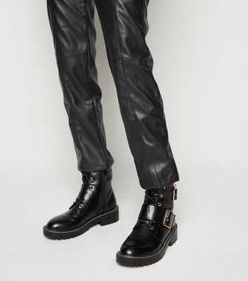 NA-KD Black Coated Leather-Look Trousers New Look