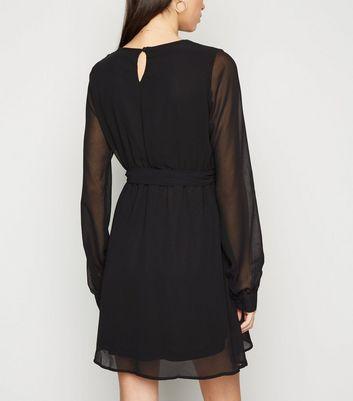 NA-KD Black Chiffon Mini Wrap Dress New Look