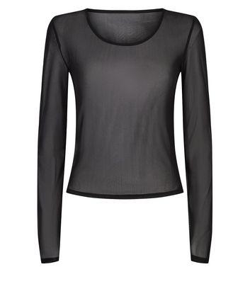 NA-KD Black Mesh Long Sleeve Top New Look