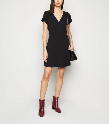 NA-KD Black Mini Wrap Dress New Look