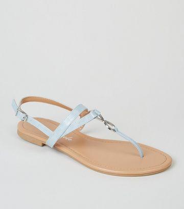 Blue Faux Snake Metal Ring Sandals