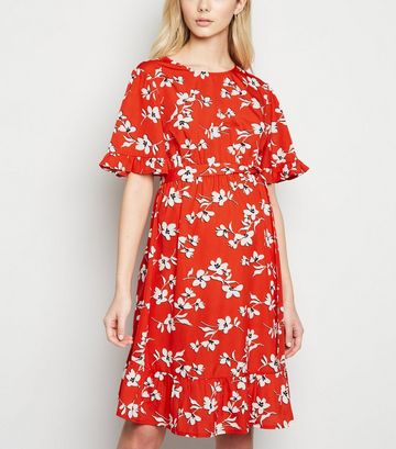 Maternity Red Floral Frill Hem Mini Dress