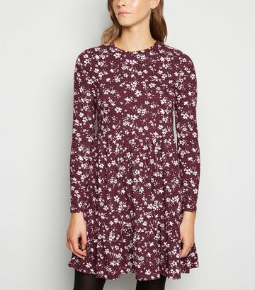 Dark Red Floral Spot Soft Touch Mini Smock Dress