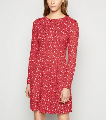 Red Floral Spot Soft Touch Skater Dress