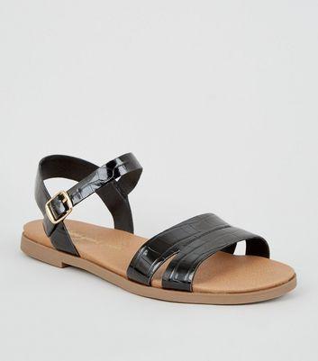 Wide Fit Black Faux Croc Footbed