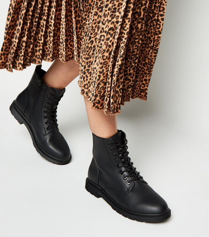propeller gift With other bands  Wide Fit Black Lace Up Flat Ankle Boots | New Look