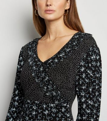 Cameo Rose Black Ditsy Floral Spot Ruffle Dress New Look