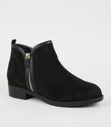 Wide Fit Black Suedette Zip Side Flat Ankle Boots