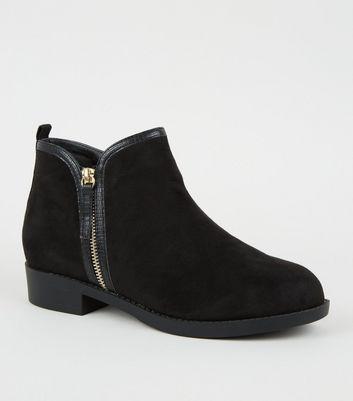Wide Fit Black Suedette Zip Side Flat