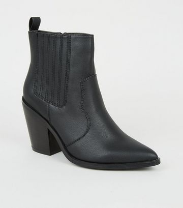 Black Western Block Heel Ankle Boots