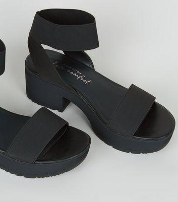 black strap sandals platform