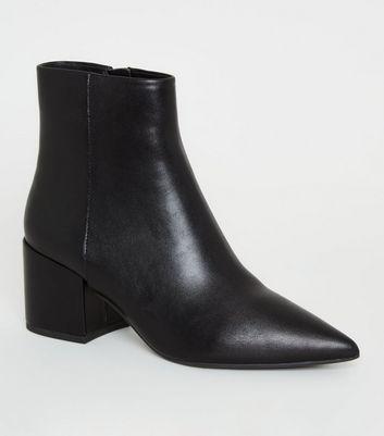 Black Pointed Toe Block Heel Ankle