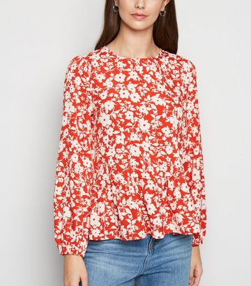 Red Floral Peplum Blouse