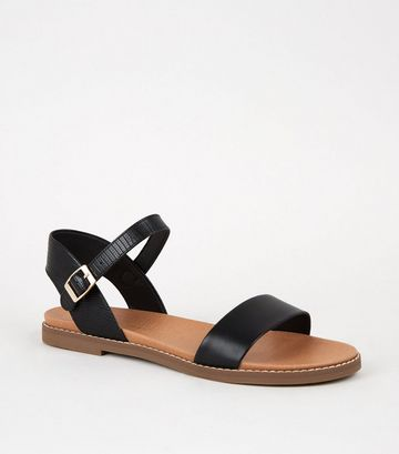 Black Faux Snake Footbed Sandals