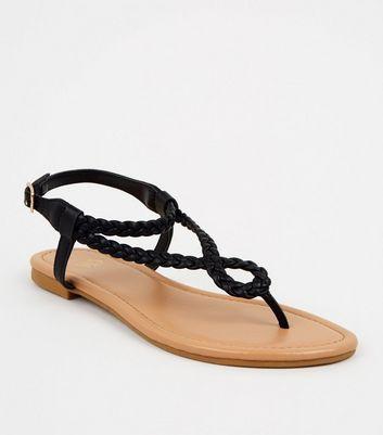 Black Leather-Look Plait Strap Sandals