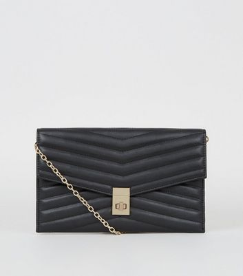 shop for Black Quilted Leather-Look Clutch Bag New Look Vegan at Shopo