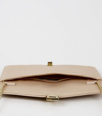 shop for Pale Pink Quilted Leather-Look Clutch Bag New Look Vegan at Shopo