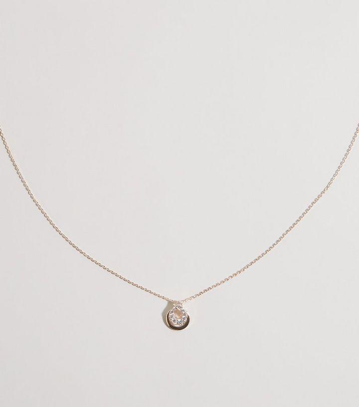 Rose Gold Cubic Zirconia Teardrop Pendant Necklace New Look