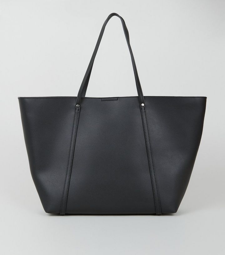 Black Leather Look Large Tote Bag New