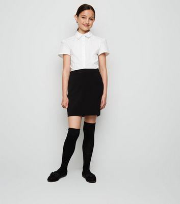 girls black zip back skirt new look