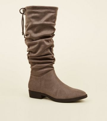Grey Suedette Flat Slouch Calf Boots