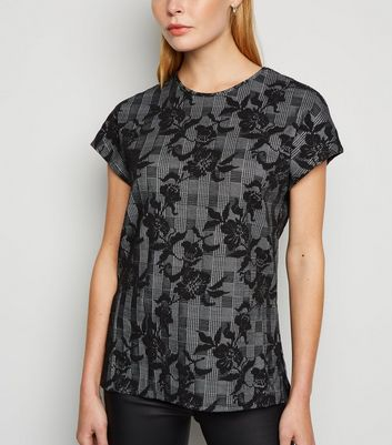 Apricot Black Floral and Check Jacquard Top New Look