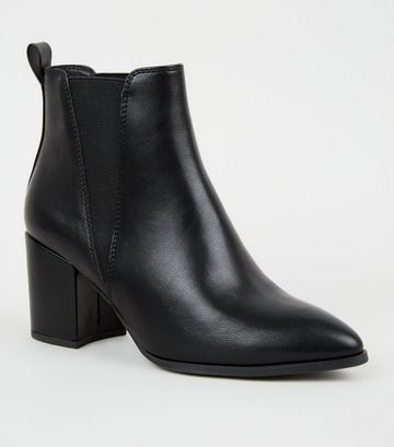 Wide Fit Black Leather-Look Pointed Chelsea Boots