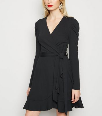 Black Puff Shoulder Mini Wrap Dress by New Look