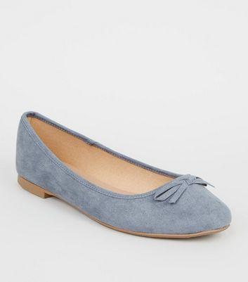 Wide Fit Pale Blue Suedette Ballet