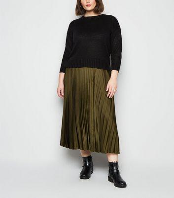 Curves Khaki Pleated Midi Skirt by New Look