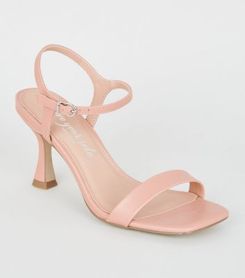 Pale Pink Leather-Look Slim Flared Mid