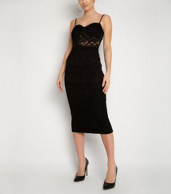 NaaNaa Black Lace Bodycon Dress New Look