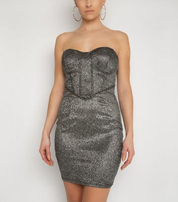 NaaNaa Black Glitter Bandeau Bodycon Dress New Look