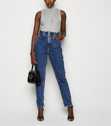 Blue Elasticated Waist Tori Mom Jeans