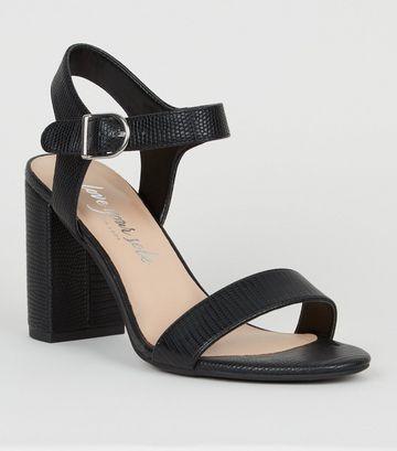 Black Faux Snake Block Heel Sandals
