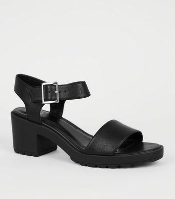 Girls Black Leather-Look Chunky Heeled