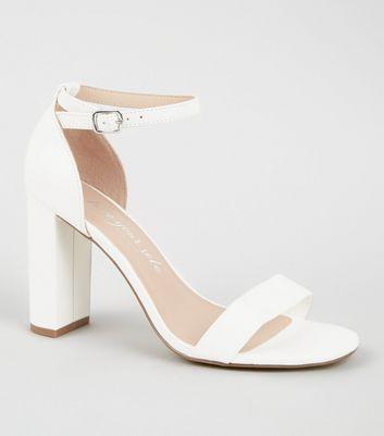 White Leather-Look 2 Part Block Heels
